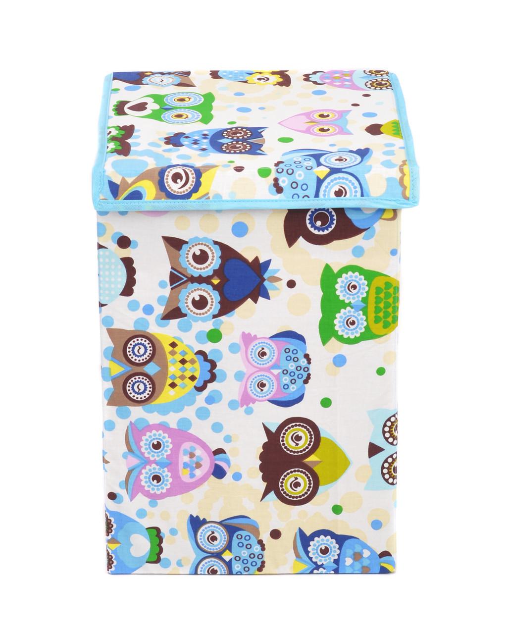 Ящик для зберігання іграшок, 35*35*55 см, (бавовна), Сови з синім ( з кришкою )