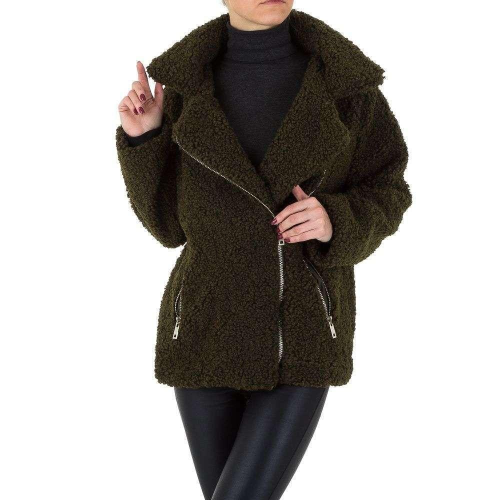 Женское плюшевое пальто короткое от Shk Paris (Франция), Хаки