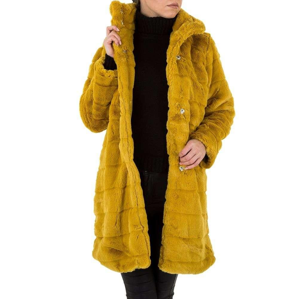 Женское плюшевое пальто с капюшоном от Shk Paris (Франция), Желтый