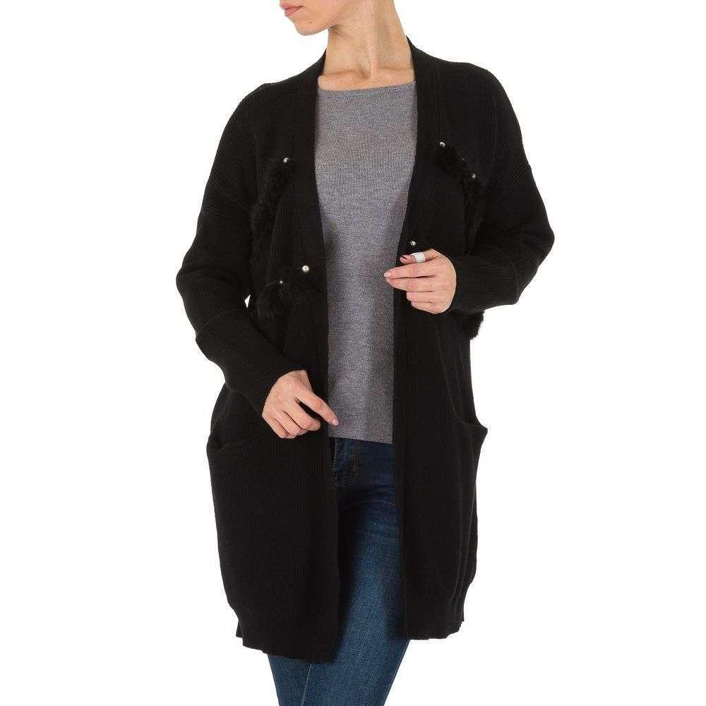 Женский кардиган с меховой опушкой от Shk Paris (Франция), Черный, размер One Size