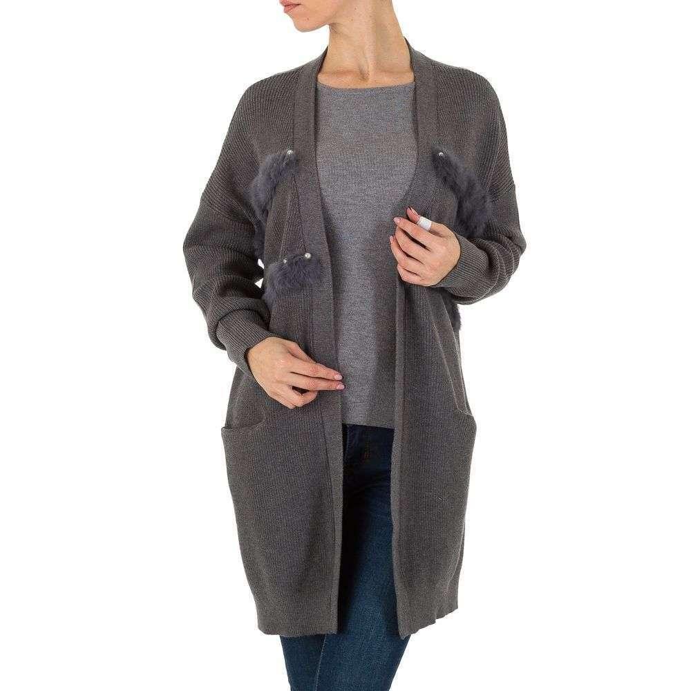 Женский кардиган с меховой опушкой от Shk Paris (Франция), Серый, размер One Size