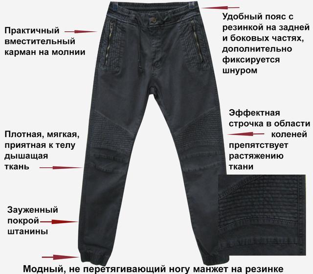 Зауженные мужские джинсы на резинке пояс и низ