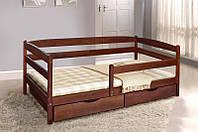 Кровать Ева 90 х 200 см + ящики + боковая планка, (орех темный)