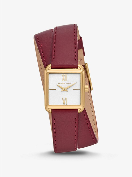 Часы Michael Kors Lake Gold-Tone and Leather Wrap MK2761