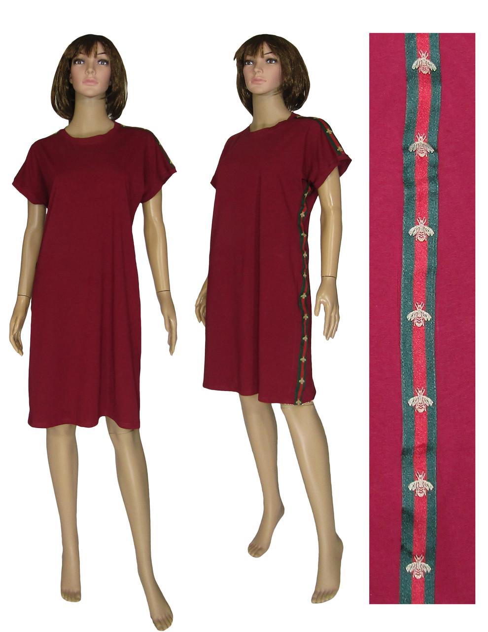 034afb018c1 Платье женское летнее трикотажное 19017 Gucci Bordo стрейч-коттон