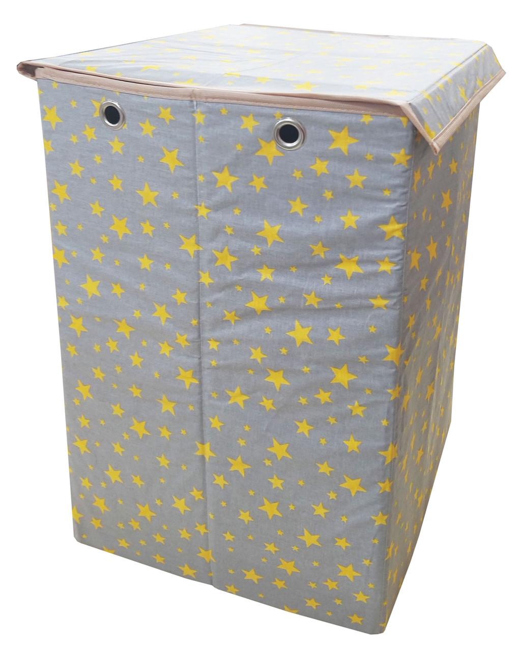 Ящик для зберігання іграшок, 35*35*55 см, (бавовна), Зірки на сірому ( з кришкою )