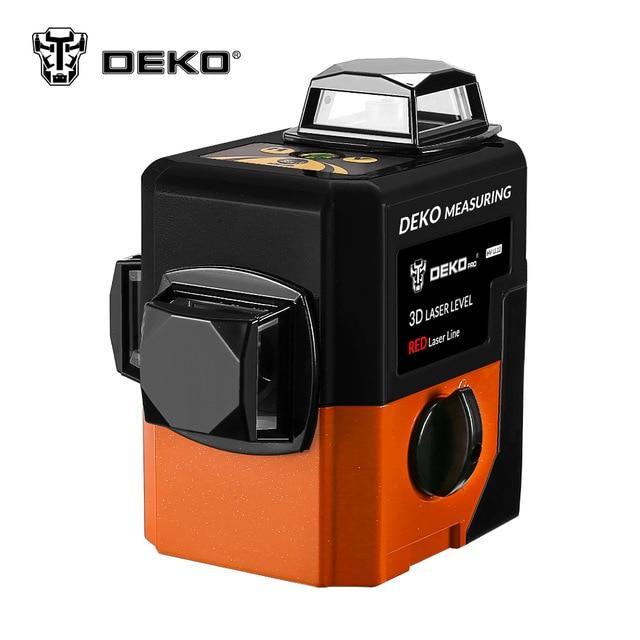 3D DEKO LL12-HV 🔹 12 линий 360 градусов ❌ КРАСНЫЙ ЛУЧ ➜до 50м 🔴 лазерный уровень нивелир + 2 БАТАРЕИ 2000mAh