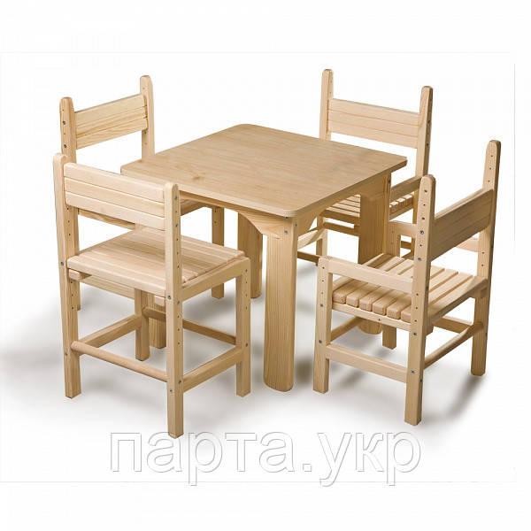 Детский стол и стулья (4шт.) сосновый