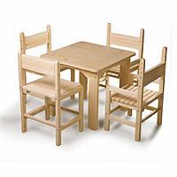 Детский стол и стулья (4шт.) сосновый, фото 1