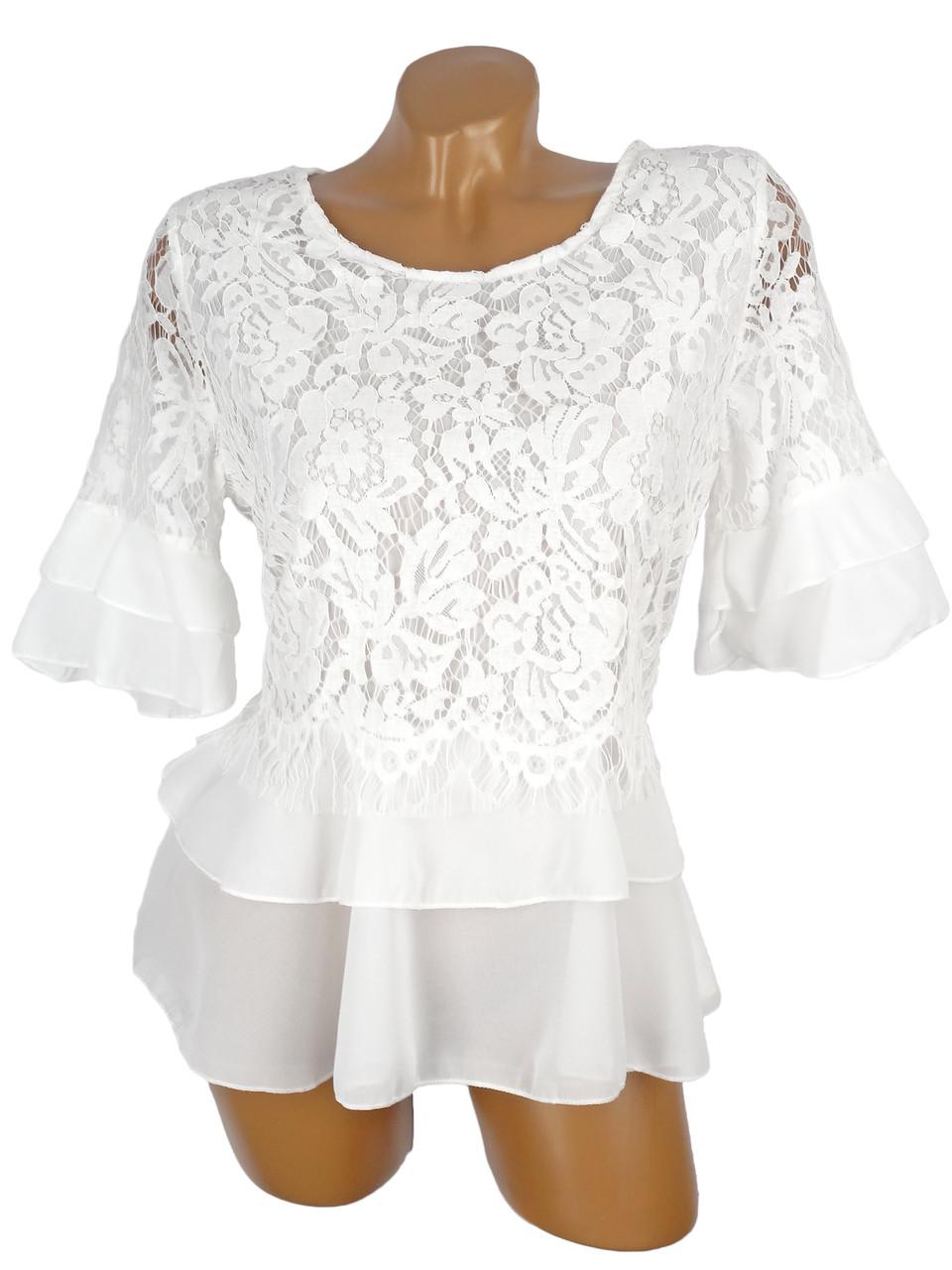7059a9743b9 Нарядная блузка с гипюром 44-46 (в расцветках) - купить по лучшей ...