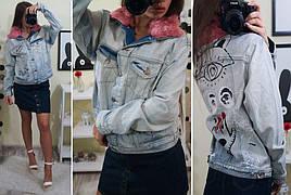Женский джинсовый пиджак с мехом на воротнику