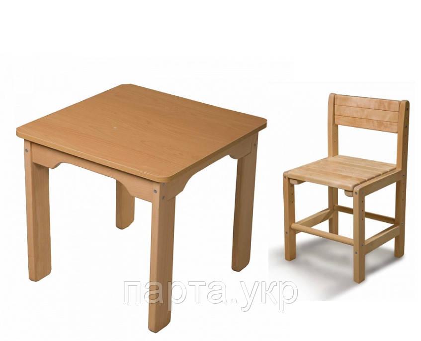 Детский стол и детский стульчик растущий, бук