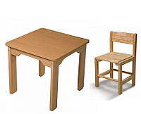 Детский стол и детский стульчик растущий, бук, фото 1