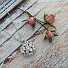 Женский кулон подвеска цветок на цепочке 45 + 5 см белая позолота с фианитами, фото 3
