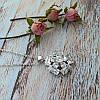 Женский кулон подвеска цветок на цепочке 45 + 5 см белая позолота с фианитами, фото 7
