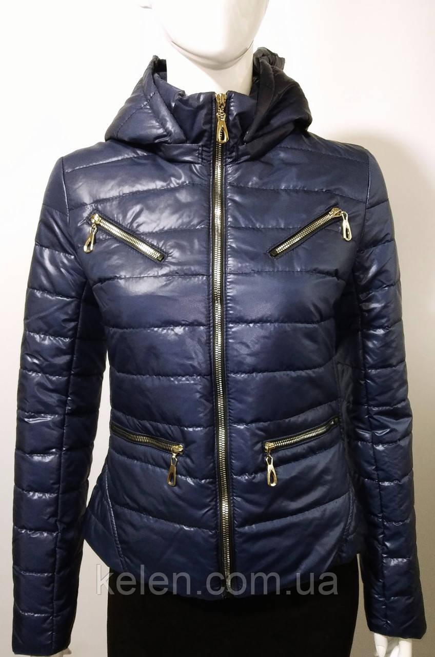 Женская куртка весна-осень укороченая цвет синий