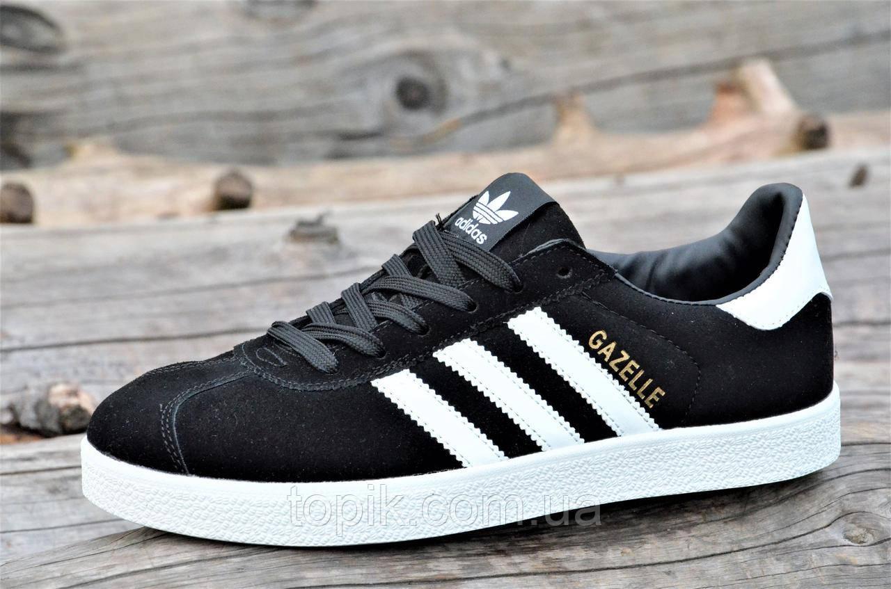 Модные мужские кроссовки, кеды реплика Adidas GAZELLE натуральная замша черные удобные  (Код: 1327)