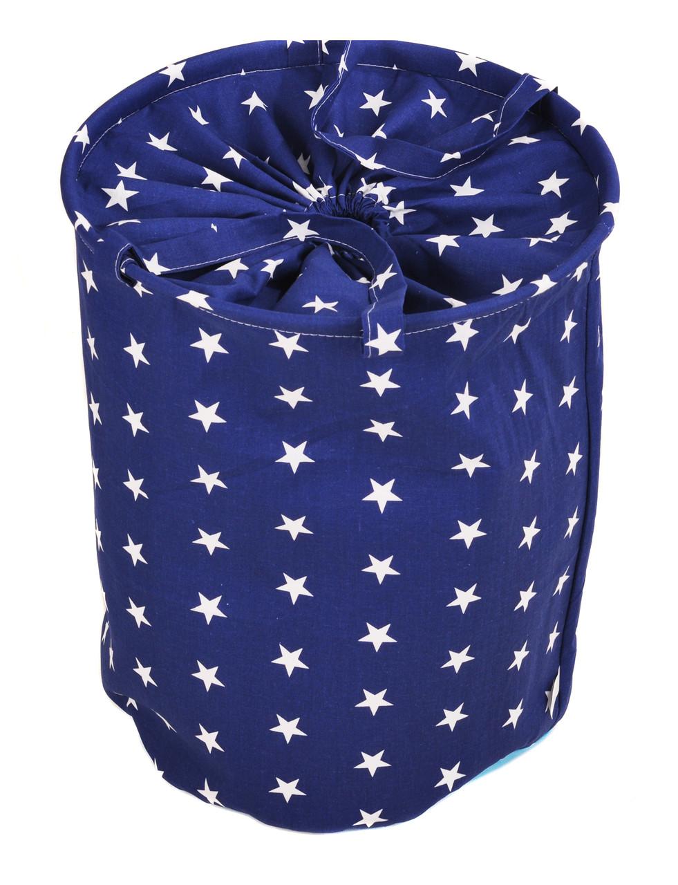 Мішок для зберігання іграшок, 35*40 см, (бавовна), Зірки на синьому