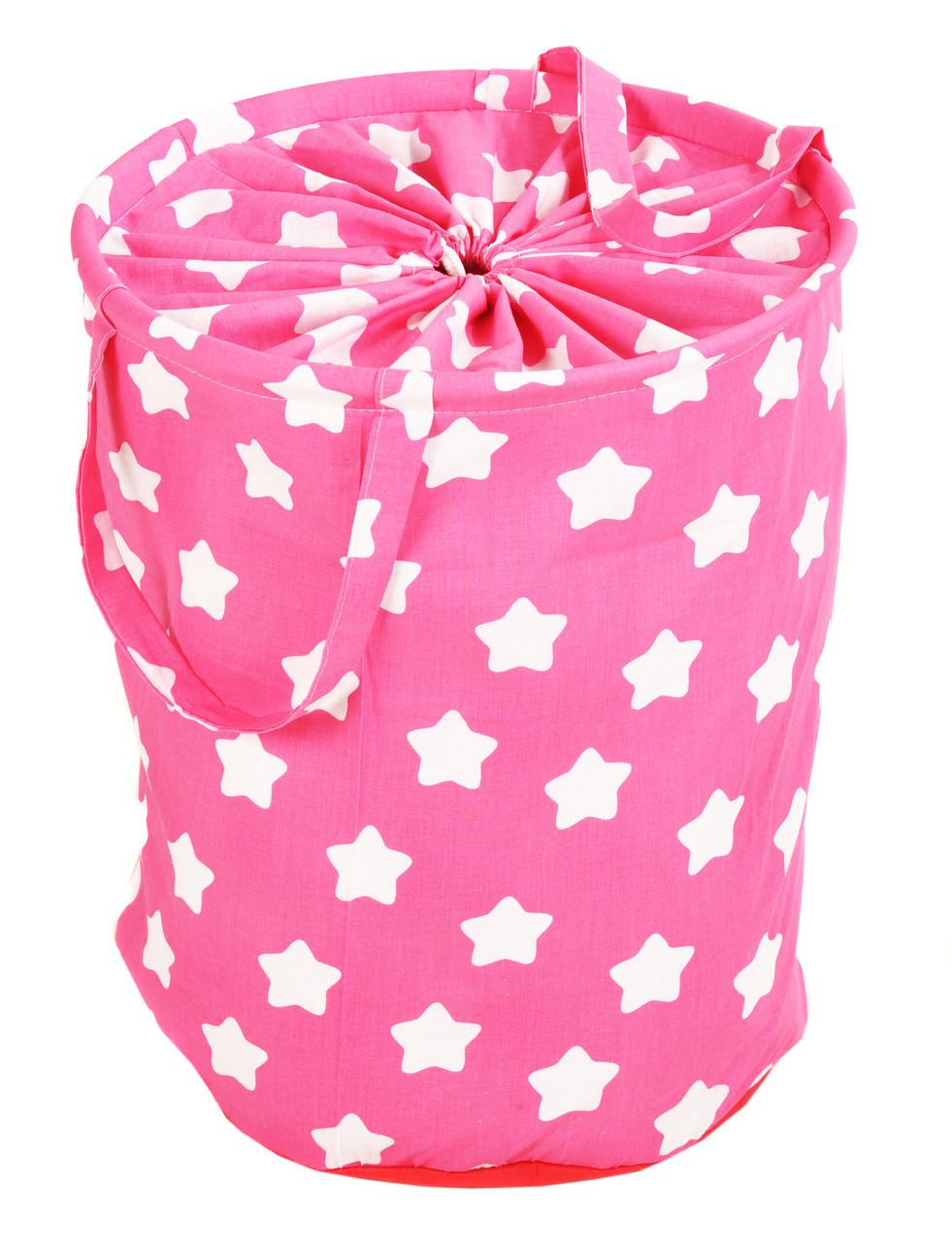 Мішок для зберігання іграшок, 40*50 см, (бавовна), Зірки на рожевому