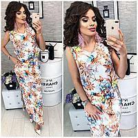Платье длинное, М-1, принт цветы на белом, фото 1