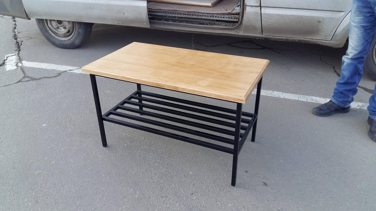 журнальный столик из натурального дерева и металла 3 600 грн