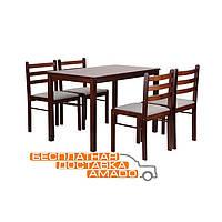 Комплект обеденный Брауни (стол+4 стула) темный шоколад/латте, фото 1