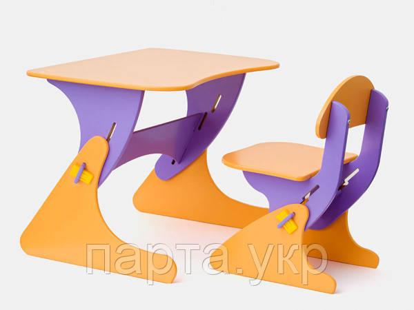 Дитячий стілець і стіл для малюків жовто-фіолетовий
