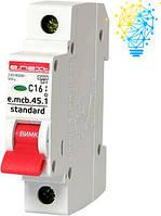Модульний автоматичний вимикач 1р, 16А, C, 4,5 кА  (e.mcb.stand.45.1.C16)