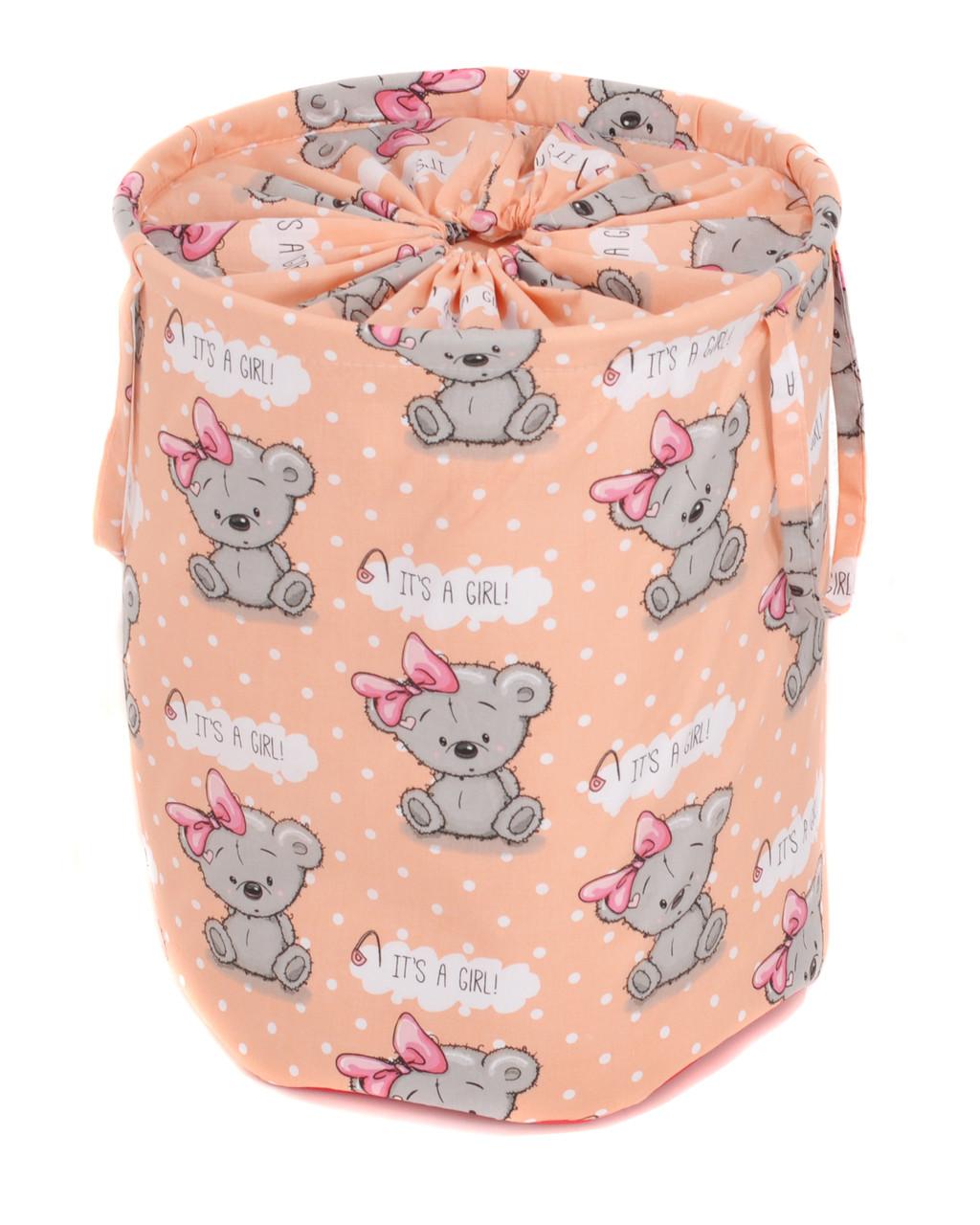 Мешок для хранения игрушек, 35 * 40 см, (хлопок), Мишка девочка на оранжевом