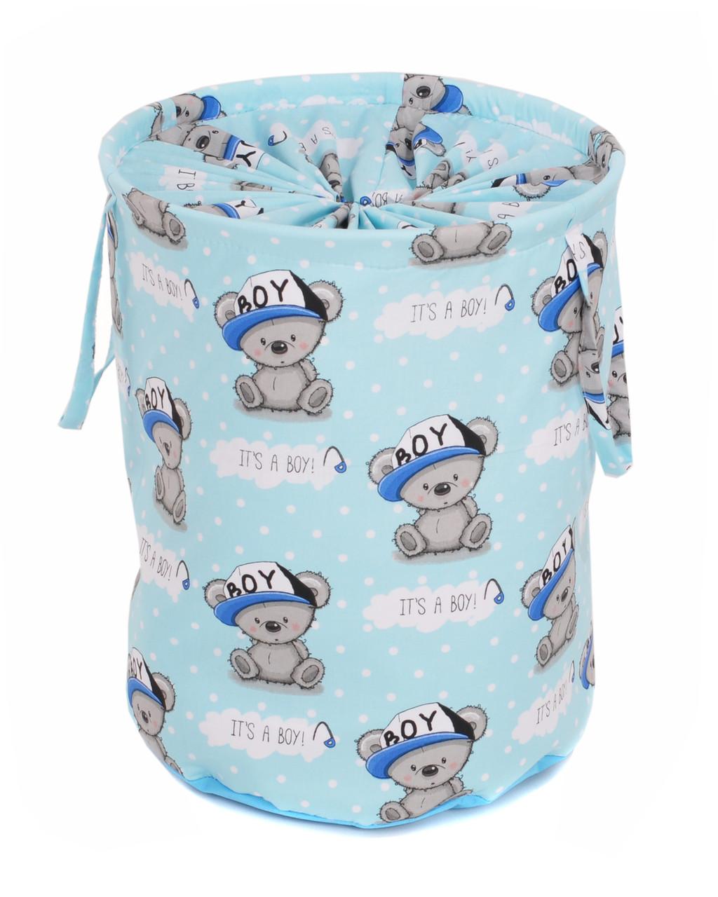 Мешок для хранения игрушек, 35 * 40 см, (хлопок), Мишка мальчик на синем