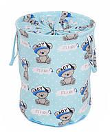 Мешок для хранения игрушек, 35*40 см, (хлопок), Мишка мальчик на синем