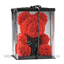Мишка из Роз 40 см., в подарочной упаковке, мишка из цветов/ розовый, красный