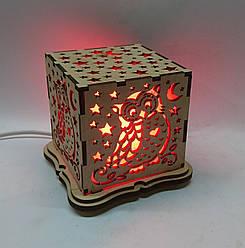 """Соляной светильник деревянный куб """"Сова"""""""