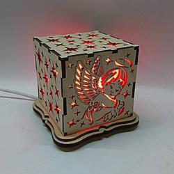 """Соляной светильник деревянный куб """"Ангелок"""""""