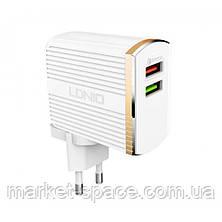 Быстрое сетевое зарядное устройство LDNIO A2502Q Quick Charge 3.0 + кабель Lightning IOS, фото 2