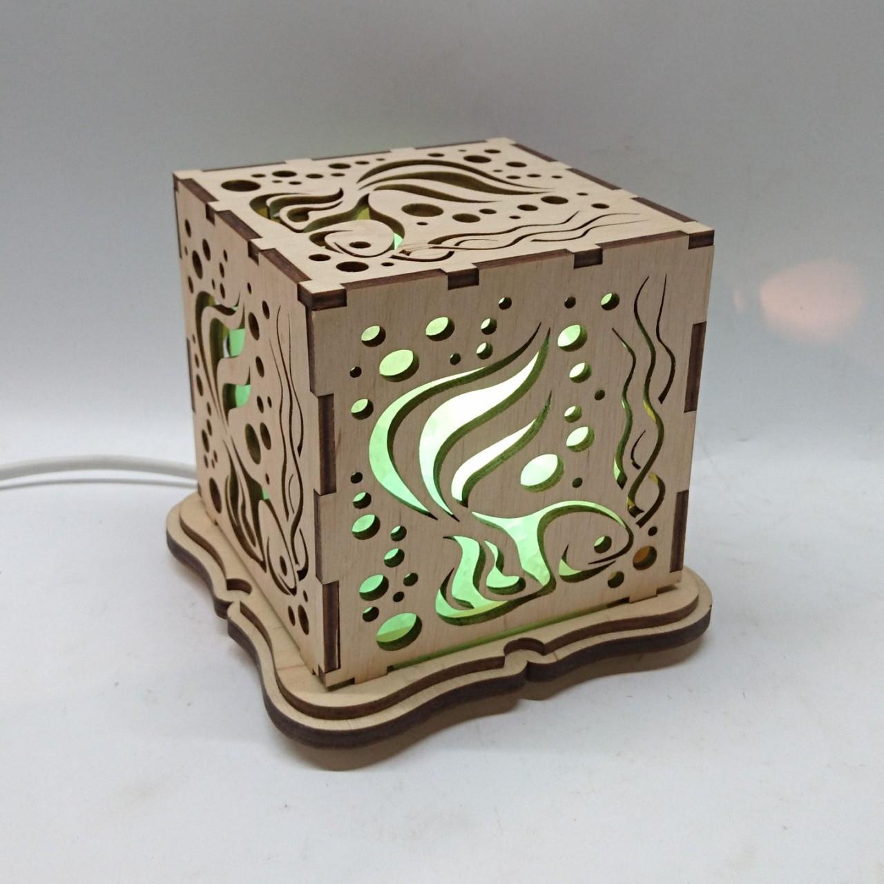 """Соляной светильник деревянный куб """"Рыба"""""""