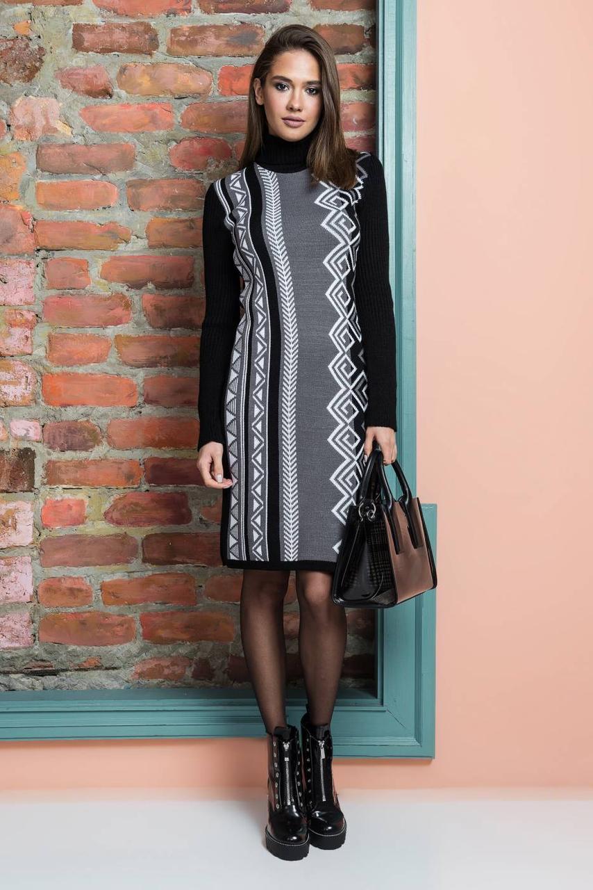 Милое бежевое вязаное платье до колена размер 44-52