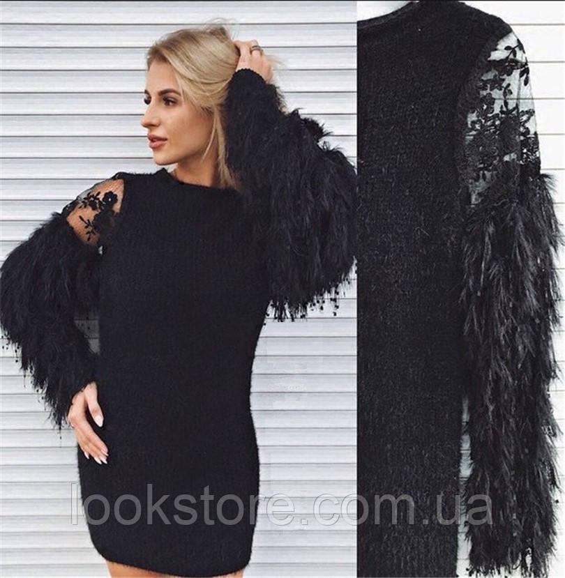 Платье женское Ангел с пушистыми рукавами черное