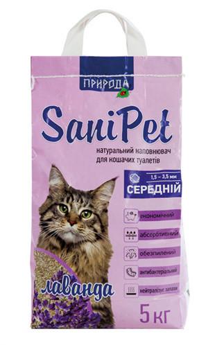 Бентонитовый наполнитель Природа SaniPet, средний, с ароматом лаванды 5 кг