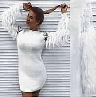 Платье женское Ангел с пушистыми рукавами белое, фото 1