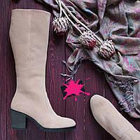 Женские замшевые сапоги на невысоком каблуке Возможен отшив в других цветах кожи и замши