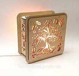 Соляные светильники деревянные Квадратные