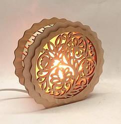 Соляные светильники в дереве Круглые