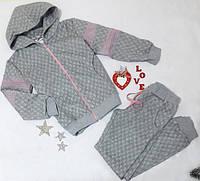 Стильный спортивный костюм на девочку р. 140-152 светло-серый