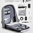 Рюкзак Bobby Бобби антивор Серый с USB, часы Swiss Army в подарок, фото 3