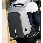 Рюкзак Bobby Бобби антивор Серый с USB, часы Swiss Army в подарок, фото 10
