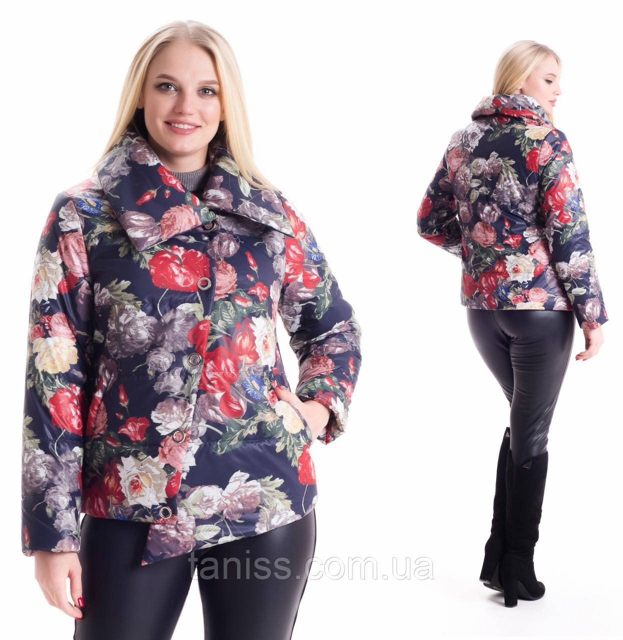 Молодежная, весенняя , демисезонная куртка  на молнии, короткая, р 46,48 цветы (02)
