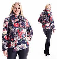 Молодежная, весенняя , демисезонная куртка  на молнии, короткая, р с 42 по 56, цветы (02)