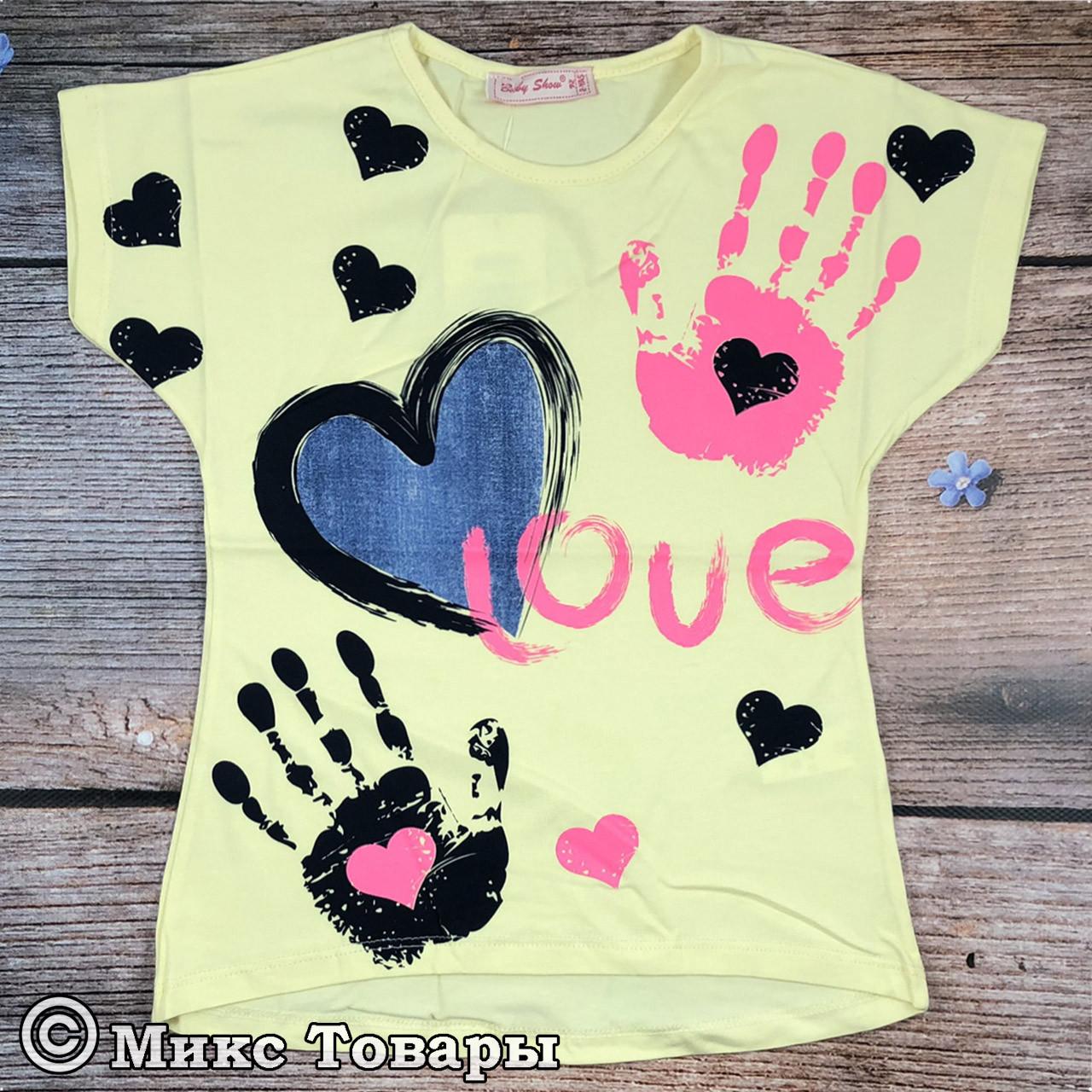Жёлтые футболки для девочек Размеры: 92,98,104,110 см (8097-1)