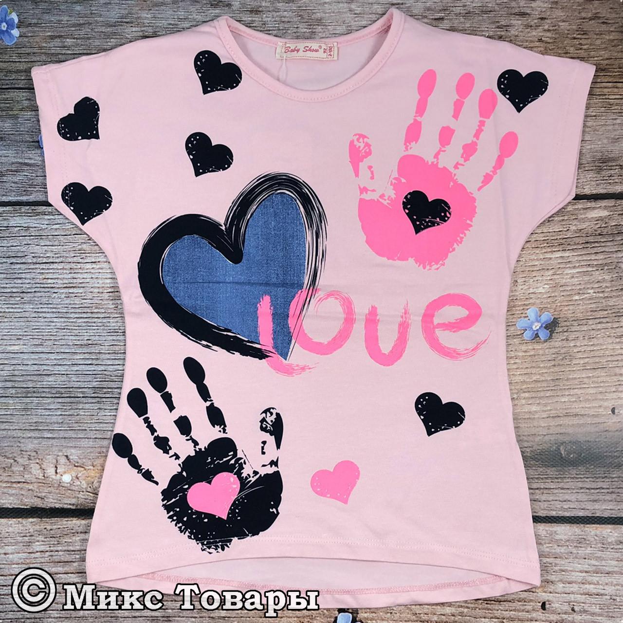 Детская футболка розового цвета Размеры: 92,98,104,110 см (8097-2)